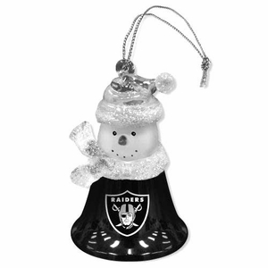 Oakland Raiders 2 1/2 Inch Snowman Bell Ornament - Click to enlarge