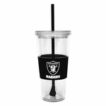 Oakland Raiders 22oz Black Straw Tumbler