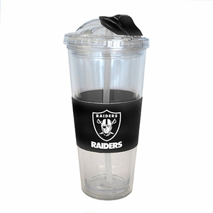 Oakland Raiders 22oz No Spill Straw Tumbler - Click to enlarge