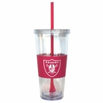 Oakland Raiders 22oz Pink Straw Tumbler