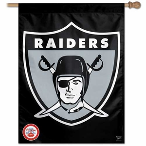 Oakland Raiders 27 Inch 1963 Logo Vertical Flag - Click to enlarge