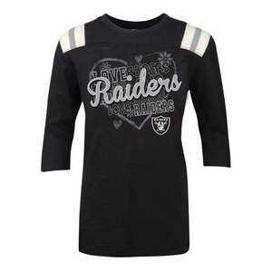 Oakland Raiders 3/4 Sleeve Heart Girls Tee - Click to enlarge