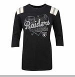 Oakland Raiders 3/4 Sleeve Heart Girls Tee
