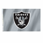 Oakland Raiders 3 x 5 Silver Shield Flag