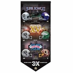 Oakland Raiders 3X Super Bowl 50 Banner