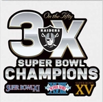Oakland Raiders 3X Super Bowl 50 Decal