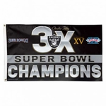 Oakland Raiders 3X Super Bowl 50 Flag