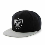 Oakland Raiders '47 Brand Back Slide Logo Black and Grey Snapback Cap