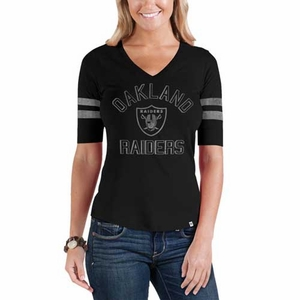 Oakland Raiders '47 Brand Womens Flanker Stripe Tee - Click to enlarge