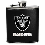 Oakland Raiders 6oz Leather Wrapped Flask