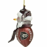 Oakland Raiders Acrylic Striped Touchdown Ornament