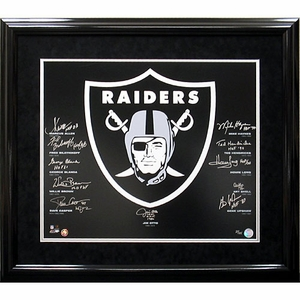 Raiders Autographed Hall of Fame Framed Crest - Click to enlarge