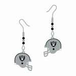 Oakland Raiders Beaded Helmet J-Hook Earrings