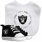 Oakland Raiders Bib and Shoes Set