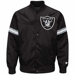 Oakland Raiders Black Satin Starter Logo Jacket