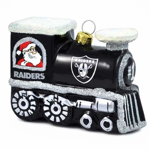Oakland Raiders Blown Glass Train Ornament - Click to enlarge