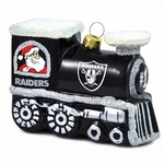 Oakland Raiders Blown Glass Train Ornament