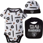 Oakland Raiders Bodysuit and Bib Set