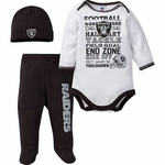 Oakland Raiders Bodysuit Pant and Cap Set