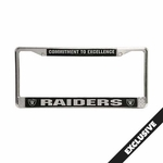Raiders Chrome Commitment to Excellence License Frame