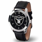 Oakland Raiders Classic Leather Strap Watch