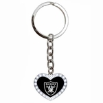 Oakland Raiders Crystal Heart Keychain