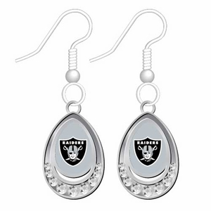 Oakland Raiders Crystal Tear Drop Earrings - Click to enlarge