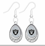 Oakland Raiders Crystal Tear Drop Earrings