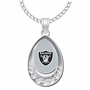 Oakland Raiders Crystal Tear Drop Pendant - Click to enlarge
