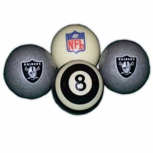 Oakland Raiders Deluxe Billiard Set - Click to enlarge