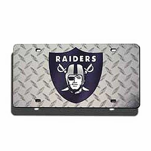 Oakland Raiders Diamond Laser Auto Tag - Click to enlarge