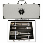 Oakland Raiders Eight Piece Barbecue Set With Case