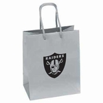 Oakland Raiders Emerald Medium Logo Silver Gift Bag