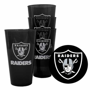 Oakland Raiders Four Pack 16oz Plastic Pint Set - Click to enlarge