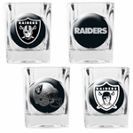 Oakland Raiders Four Pack Square Shot Glass Set