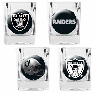 Oakland Raiders Four Pack Square Shot Glass Set - Click to enlarge