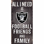 Oakland Raiders Friends and Family Wooden Sign