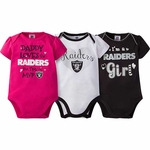 Oakland Raiders Girl's Three Pack Bodysuit Set