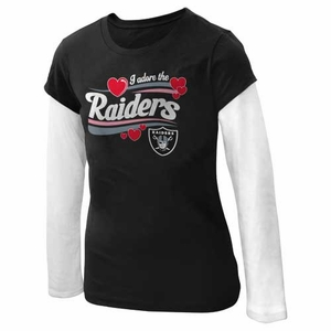 Oakland Raiders Girls Adorable Long Sleeve Tee - Click to enlarge