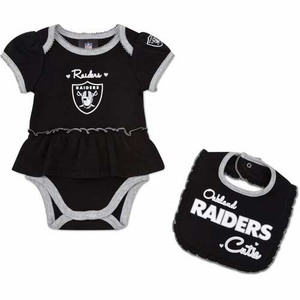 Oakland Raiders Girls Bodysuit Sleep N Play Set - Click to enlarge