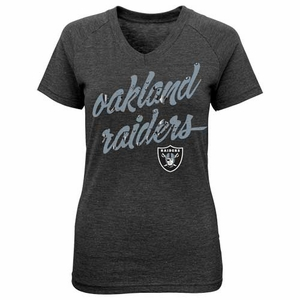 Oakland Raiders Girls Foiled Script Tee - Click to enlarge
