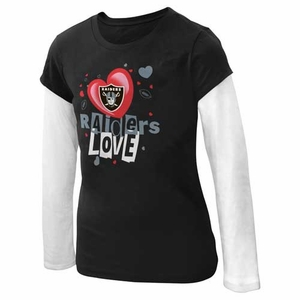 Oakland Raiders Girls Hearts Long Sleeve - Click to enlarge