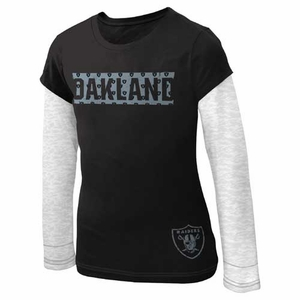 Oakland Raiders Girls Layered Tee - Click to enlarge