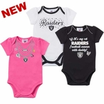 Oakland Raiders Girls Three Pack Bodysuit Set