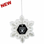 Oakland Raiders Art Glass Snowflake Ornament