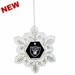 Oakland Raiders Glass Snowflake Ornament