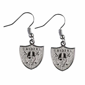 Oakland Raiders Glitter Dangle Earrings - Click to enlarge