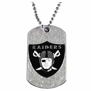 Oakland Raiders Glitter Dog Tag - Click to enlarge