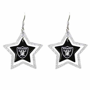 Oakland Raiders Glitter Star Earrings - Click to enlarge