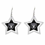Oakland Raiders Glitter Star Earrings